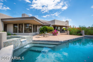 Private Patio with Covered Dining, BBQ, Lap Pool, Water Feature & Fire Place