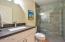 Full bathroom off kitchen