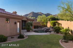 McDowell Mountain views in the background from the private backyard with natural grass for the kids and/or pets.