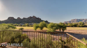 Patio views of Superstition & Dinosaur Mountain & gold course from 5370 S Desert Dawn Drive 22