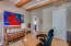 Office/den with beamed ceiling