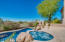 Heated salt water pool and spa with built in gas fireplace