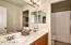 Upstairs hall bath with dual vanities