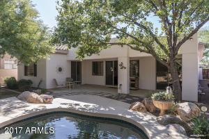 Shady backyard with numerous mature trees, real grass, & heated Spool.