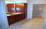 Master Vanity has dual sinks and linen cabinet