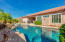 Gorgeous pebble-etc pool and spa with waterfall and fountain