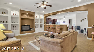 Family room with built-ins
