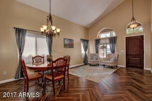 Living/Dining room with new herringbone flooring