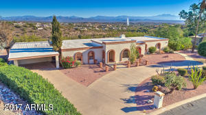 Rare Fountain Hills 1.5 acre hillside lot, single level home with pool with world-famous fountain views!