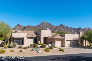 The McDowell Mountains provide a beautiful backdrop for this home on a private corner lot.