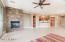 Great room area with kitchen and dining area.