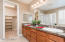 Master bathroom with 2 sinks and granite counters