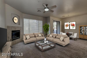Luxury condo  nestled in the award winning community of Las Sendas.  This sought after floorplan on lower level features 3 bdrms w/split Mstr suite.  Freshly painted, new carpeting, tile/grout cleaned and sealed, new bathroom fixtures. Mstr has a private patio & ensuite w/dual sinks, separate soaking tub & shower, private commode, walk-in-closet w/shelving. Great room features gas fireplace, dining area & access to patio overlooking common area. Light-bright kitchen features a breakfast nook, raised breakfast bar, upgraded Maple cabinetry, SS appliances and pantry. Laundry room with shelving. Two car extended garage, with room for work bench, cabinetry. Newer water heater. Cachet owners have their own heated pool/spa, fitness center & community room, in addition owners  (see mo