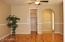 Downstairs bedroom with beautiful wood laminate flooring