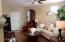 Living Room with Recessed Ceiling Lighting, Fan & Wood Flooring