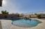View fencing and pebble tec pool w/water feature.