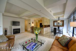 Beautiful, bright, spacious living room with spectacular architectural ceiling details.
