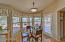Kitchen features a breakfast nook with bay windows and side door leading to fully covered patio