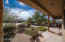 Covered patio backyard desertscape view