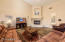 High Ceilings in Family room with Gas Fireplace and Slate Floors