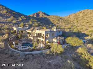 Aerial Shot of the House and the McDowell Mountains Behind