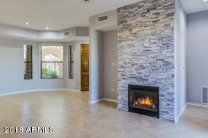 Great room, fireplace and dining room