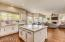 Quartz counter top on spacious kitchen island