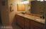 Double sinks, snail shower, private toilet room, large tub