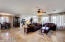 Family room/great room looking toward the formal dining area and kitchen