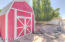 Red barn storage shed.