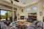 Spacious family room is light and bright.