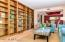 A unique wall of built-in bookshelves