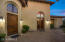 Courtyard entrances for front door, office, and guest casita.