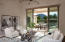 Living room entry perfectly frames Camelback Mountain