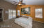 Spacious master suite with doors to back yard