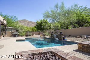 Private backyard with pool, spa, gas fire pit