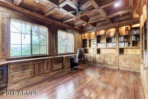 Office built with knotty Alder. Note the coffered ceiling. Gorgeous view!