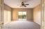 Extra large bedroom #3 with fan, 2 closets. & sliding door to upper viewing deck.
