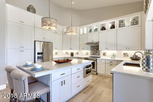 Dramatic Double Stack Cabinets & Custom Quartz Counters! Kitchen Aid Appliances including Micro Draw