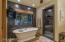 Master soaking tub. Separate large shower with rain-head fixture, private water closet