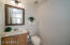 Spotless guest bathroom with close access to the living area