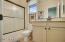 upstairs bath with granite top at vanity