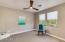 Contemporary Fan, Lush Carpet, 2-Tone Paint on Walls