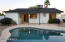 Pebble-tec diving pool & covered patio.