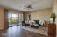 Great room has a multi-panel/center open sliding glass door for access to rear patio (also has pre-wire for speakers).