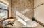Cut Travertine Stone Backsplash Wall on Soaker Tub
