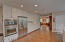 Stainless appliances, wall oven, refrigerator with water and ice in the door