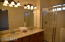 Master bath with walk-in shower and double sink vanity. New quartz countertop.