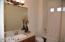 Guest bath with tub/shower. New quartz countertop