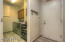 laundry room on the left and garage door access right